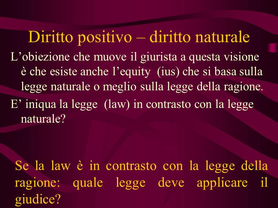 Diritto positivo – diritto naturale Lobiezione che muove il giurista a questa visione è che esiste anche lequity (ius) che si basa sulla legge natural