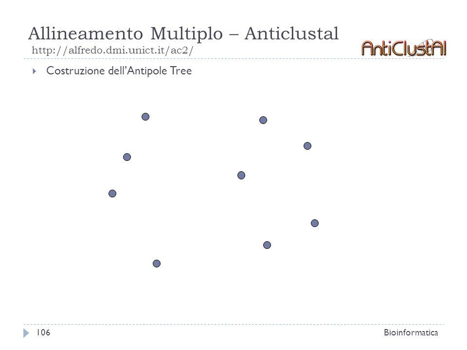 Allineamento Multiplo – Anticlustal http://alfredo.dmi.unict.it/ac2/ Bioinformatica106 Costruzione dellAntipole Tree