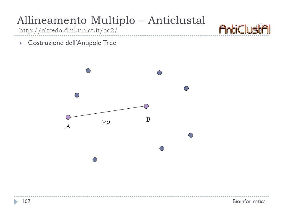 Allineamento Multiplo – Anticlustal http://alfredo.dmi.unict.it/ac2/ Bioinformatica107 Costruzione dellAntipole Tree A B >