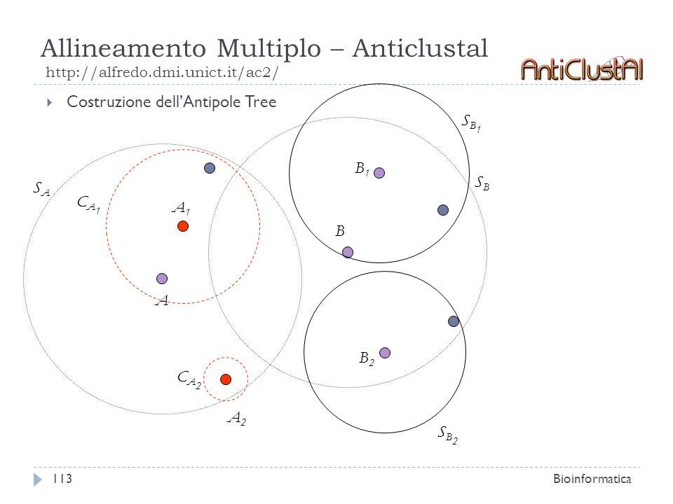Allineamento Multiplo – Anticlustal http://alfredo.dmi.unict.it/ac2/ Bioinformatica113 Costruzione dellAntipole Tree B SASA SBSB A1A1 A2A2 B2B2 B1B1 C