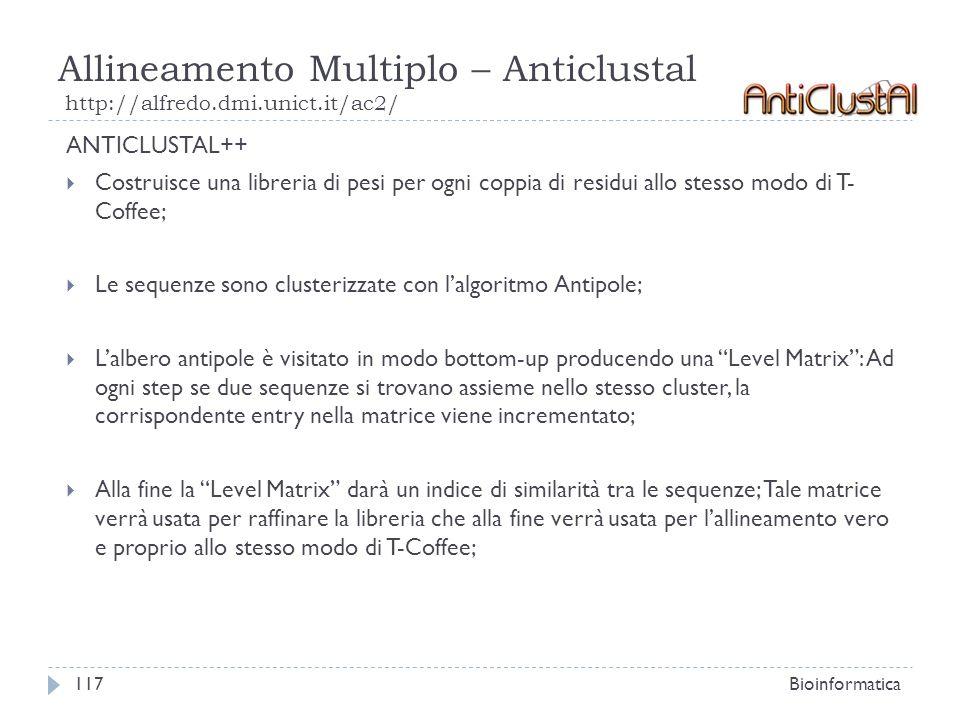 Allineamento Multiplo – Anticlustal http://alfredo.dmi.unict.it/ac2/ Bioinformatica117 ANTICLUSTAL++ Costruisce una libreria di pesi per ogni coppia d