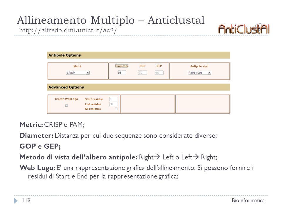 Allineamento Multiplo – Anticlustal http://alfredo.dmi.unict.it/ac2/ Bioinformatica119 Metric: CRISP o PAM; Diameter: Distanza per cui due sequenze so
