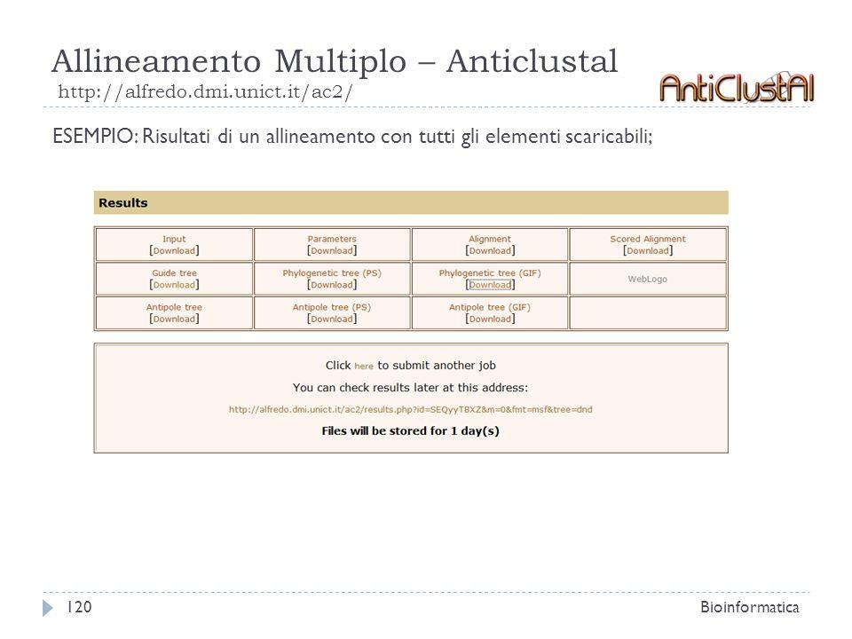 Allineamento Multiplo – Anticlustal http://alfredo.dmi.unict.it/ac2/ Bioinformatica120 ESEMPIO: Risultati di un allineamento con tutti gli elementi sc