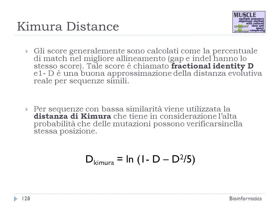 Kimura Distance Gli score generalemente sono calcolati come la percentuale di match nel migliore allineamento (gap e indel hanno lo stesso score). Tal