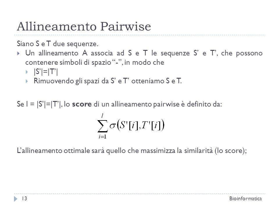 Allineamento Pairwise Siano S e T due sequenze. Un allineamento A associa ad S e T le sequenze S e T, che possono contenere simboli di spazio -, in mo