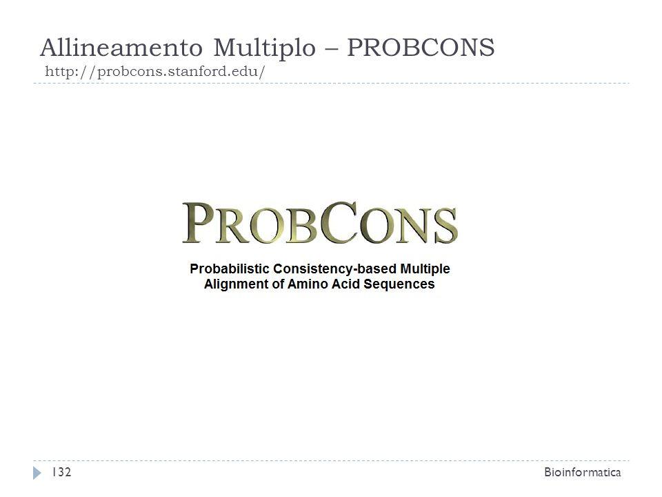 Allineamento Multiplo – PROBCONS http://probcons.stanford.edu/ Bioinformatica132