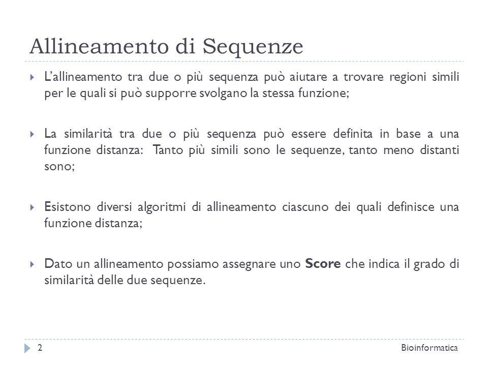 Allineamento di Sequenze Lallineamento tra due o più sequenza può aiutare a trovare regioni simili per le quali si può supporre svolgano la stessa fun