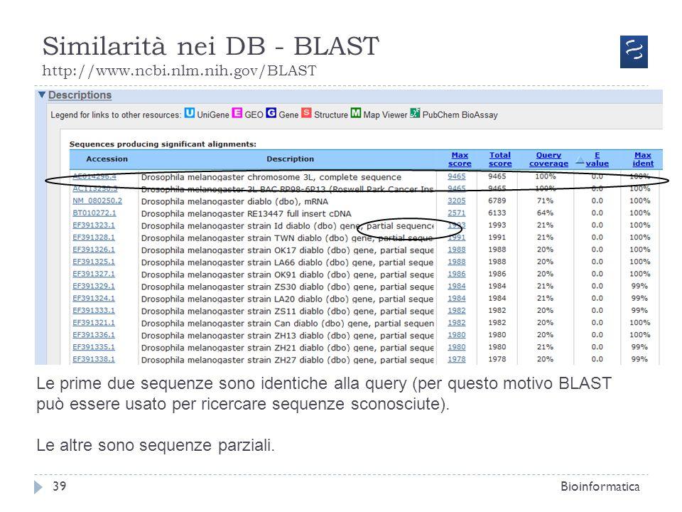 Similarità nei DB - BLAST http://www.ncbi.nlm.nih.gov/BLAST Bioinformatica39 Le prime due sequenze sono identiche alla query (per questo motivo BLAST