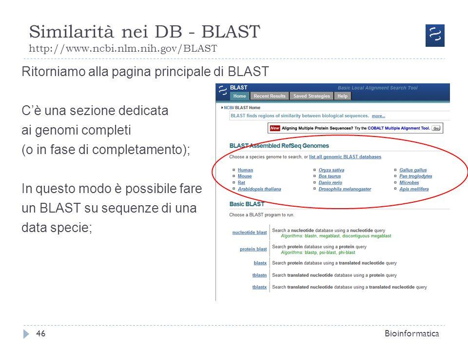 Similarità nei DB - BLAST http://www.ncbi.nlm.nih.gov/BLAST Bioinformatica46 Ritorniamo alla pagina principale di BLAST Cè una sezione dedicata ai gen