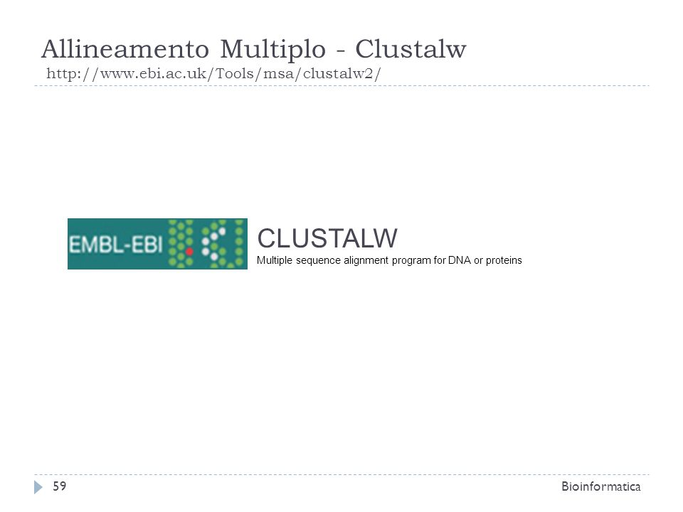 Allineamento Multiplo - Clustalw http://www.ebi.ac.uk/Tools/msa/clustalw2/ Bioinformatica59 CLUSTALW Multiple sequence alignment program for DNA or pr