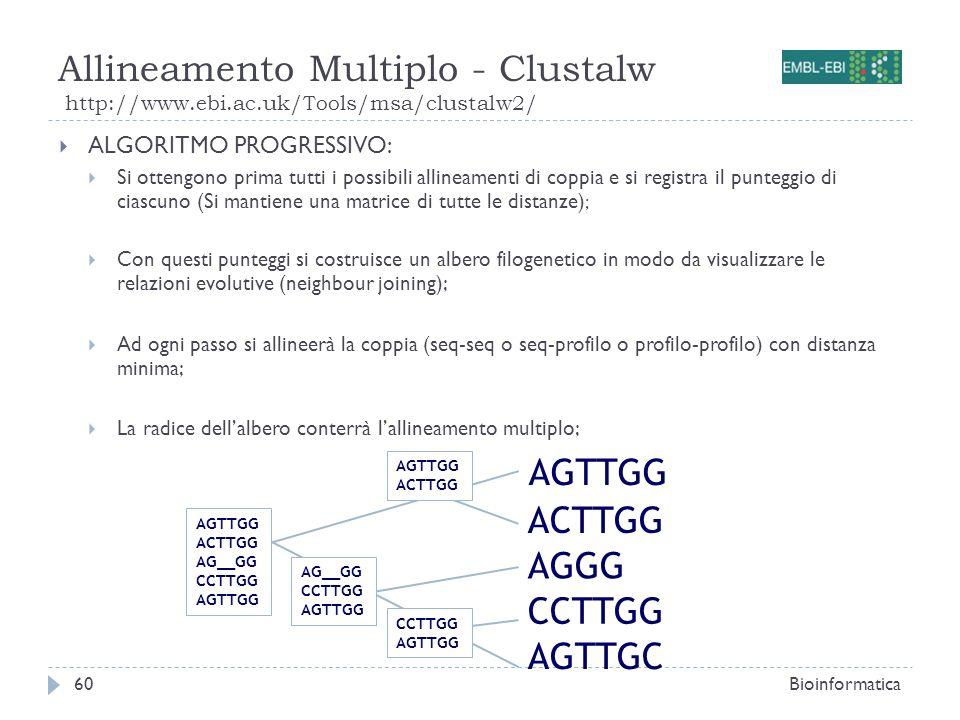 Allineamento Multiplo - Clustalw http://www.ebi.ac.uk/Tools/msa/clustalw2/ Bioinformatica60 ALGORITMO PROGRESSIVO: Si ottengono prima tutti i possibil
