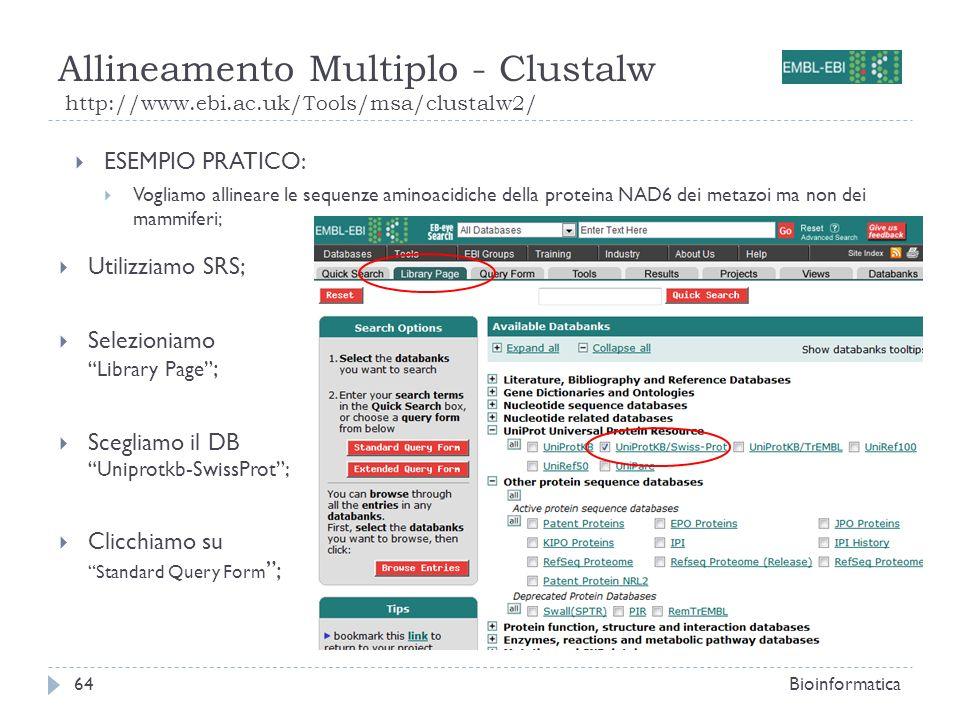 Allineamento Multiplo - Clustalw http://www.ebi.ac.uk/Tools/msa/clustalw2/ Bioinformatica64 Utilizziamo SRS; Selezioniamo Library Page ; Scegliamo il
