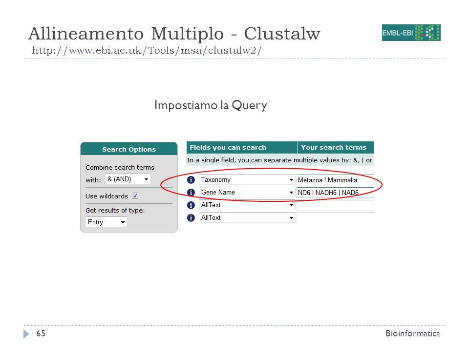 Allineamento Multiplo - Clustalw http://www.ebi.ac.uk/Tools/msa/clustalw2/ Bioinformatica65 Impostiamo la Query