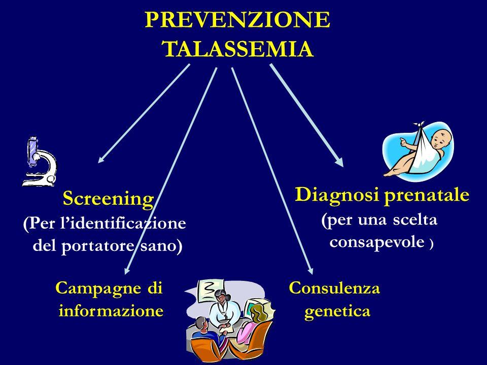 PREVENZIONE TALASSEMIA Diagnosi prenatale (per una scelta consapevole ) Campagne di informazione Consulenza genetica Screening (Per lidentificazione d