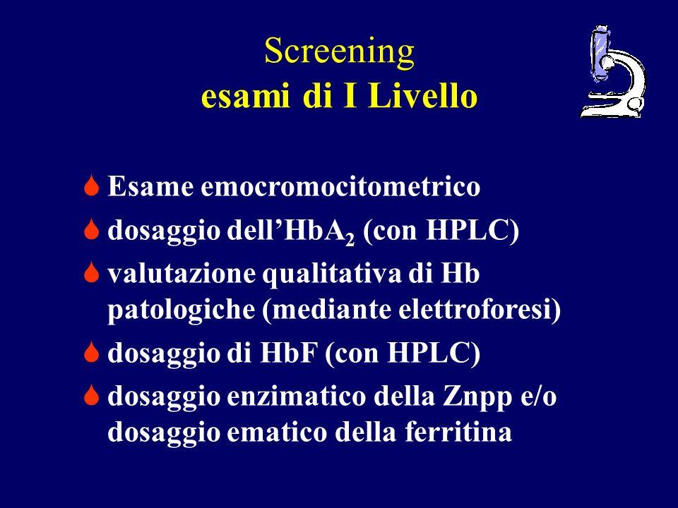 Screening esami di I Livello Esame emocromocitometrico dosaggio dellHbA 2 (con HPLC) valutazione qualitativa di Hb patologiche (mediante elettroforesi