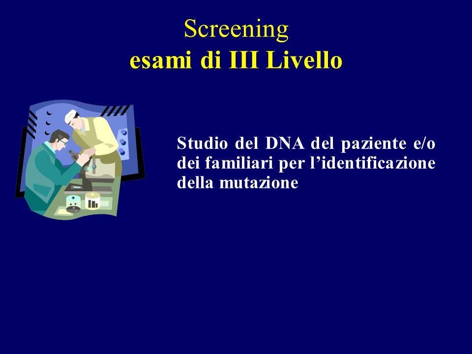Screening esami di III Livello Studio del DNA del paziente e/o dei familiari per lidentificazione della mutazione