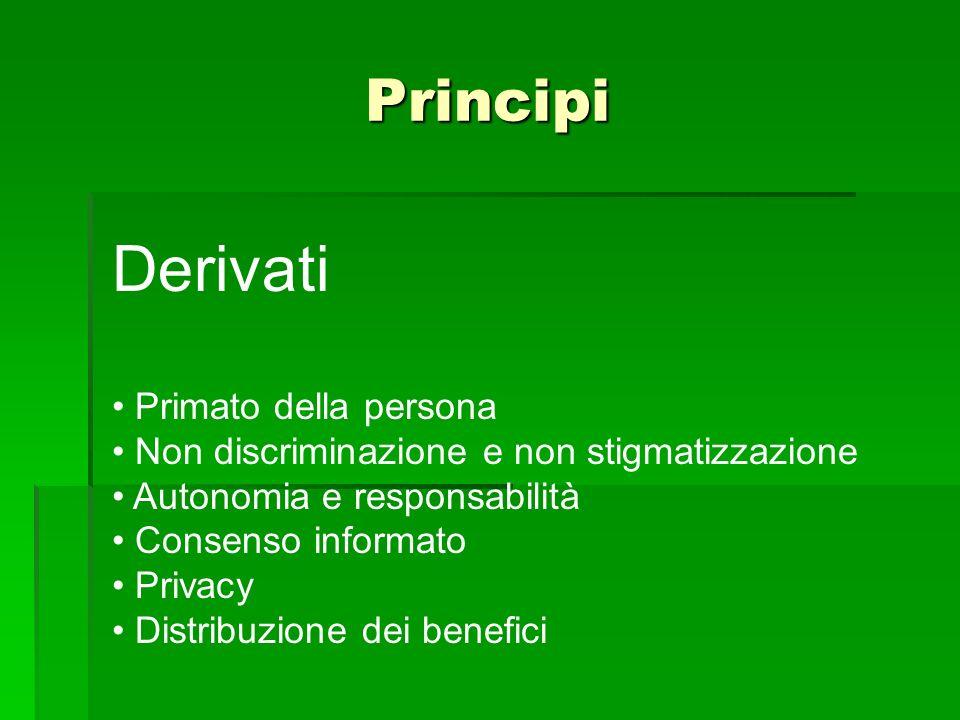Principi Derivati Primato della persona Non discriminazione e non stigmatizzazione Autonomia e responsabilità Consenso informato Privacy Distribuzione