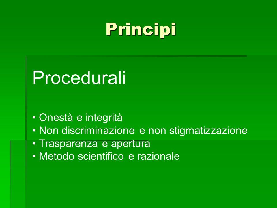 Principi Procedurali Onestà e integrità Non discriminazione e non stigmatizzazione Trasparenza e apertura Metodo scientifico e razionale