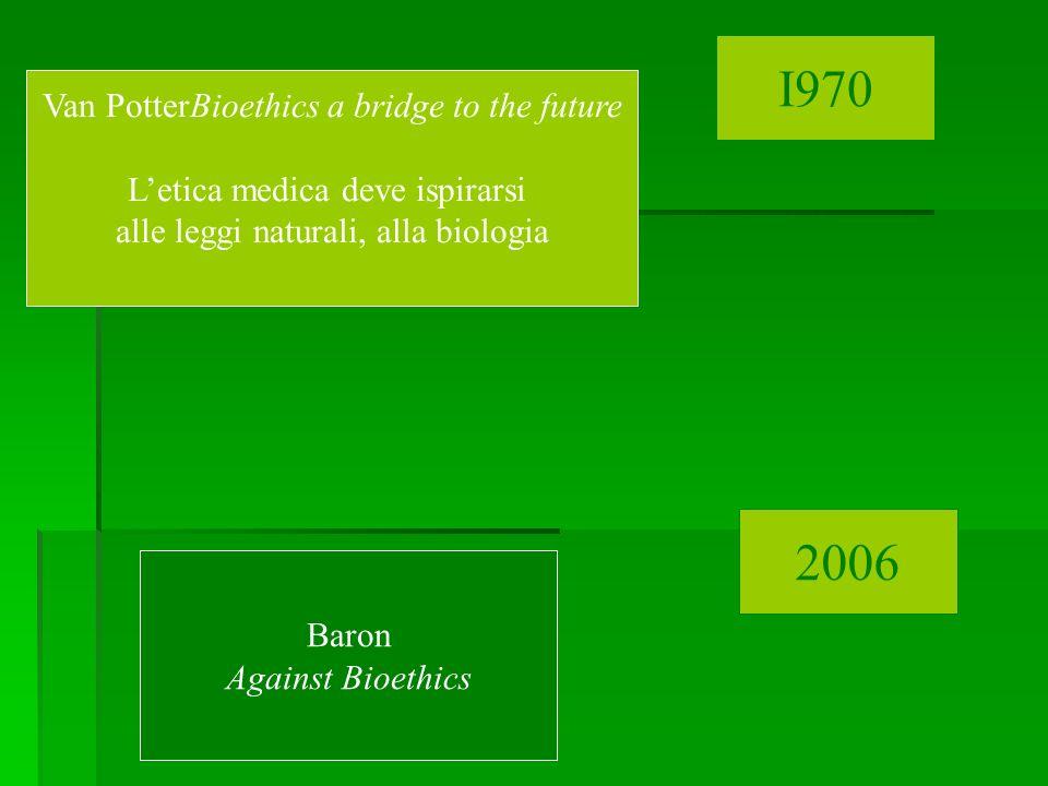 Van PotterBioethics a bridge to the future Letica medica deve ispirarsi alle leggi naturali, alla biologia Baron Against Bioethics I970 2006