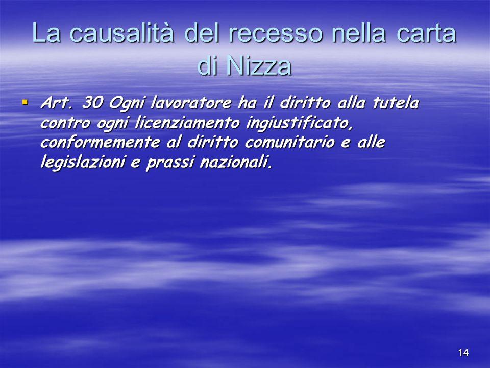 13 (I) I LIMITI SOSTANZIALI Il principio della causalità del recesso GIUSTA CAUSA (2119 c.c.): causa che non consente la prosecuzione, neanche provvis