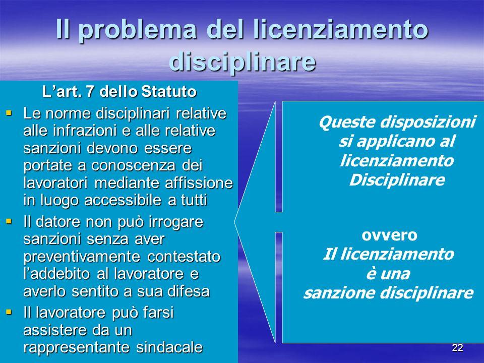 21 Sempre a proposito di nullità ed inefficacia Se il licenziamento è qualificato come sanzione disciplinare Se il licenziamento è qualificato come sa