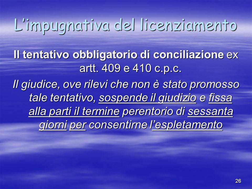 25 Limpugnativa del licenziamento Limpugnativa può essere: giudizialestragiudiziale qualsiasi atto scritto idoneo a rendere nota la volontà del lavora