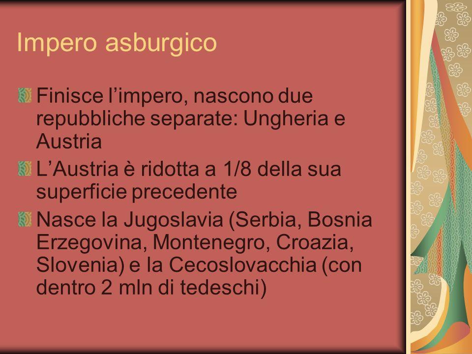 Impero asburgico Finisce limpero, nascono due repubbliche separate: Ungheria e Austria LAustria è ridotta a 1/8 della sua superficie precedente Nasce la Jugoslavia (Serbia, Bosnia Erzegovina, Montenegro, Croazia, Slovenia) e la Cecoslovacchia (con dentro 2 mln di tedeschi)