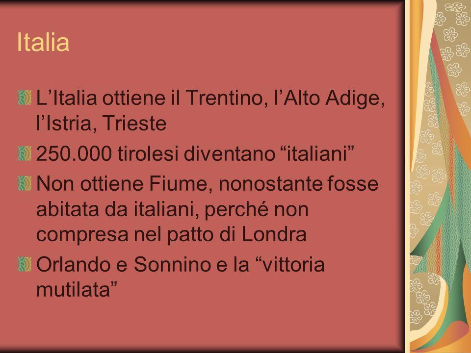 Italia LItalia ottiene il Trentino, lAlto Adige, lIstria, Trieste 250.000 tirolesi diventano italiani Non ottiene Fiume, nonostante fosse abitata da italiani, perché non compresa nel patto di Londra Orlando e Sonnino e la vittoria mutilata