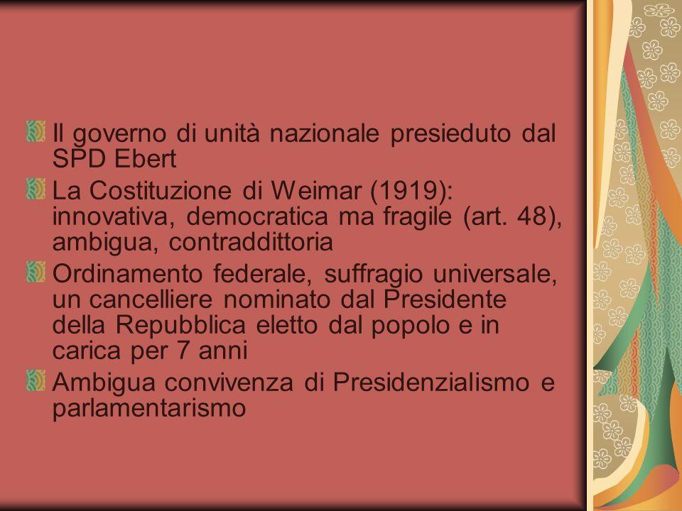 Il governo di unità nazionale presieduto dal SPD Ebert La Costituzione di Weimar (1919): innovativa, democratica ma fragile (art.