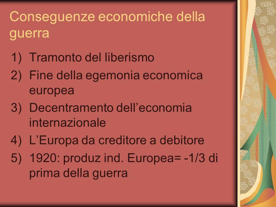 Conseguenze economiche della guerra 1)Tramonto del liberismo 2)Fine della egemonia economica europea 3)Decentramento delleconomia internazionale 4)LEuropa da creditore a debitore 5)1920: produz ind.