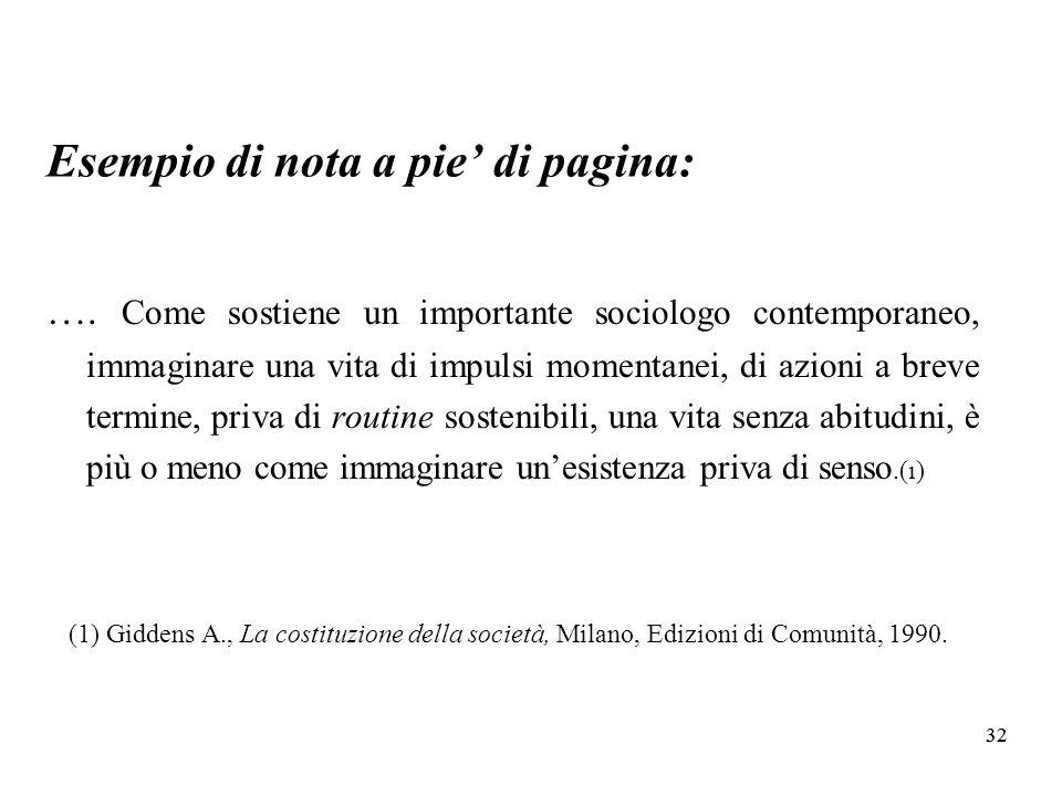 32 Esempio di nota a pie di pagina: ….