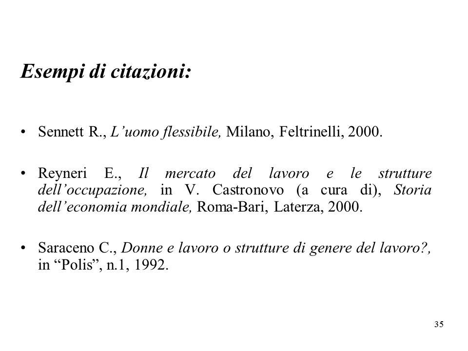 35 Esempi di citazioni: Sennett R., Luomo flessibile, Milano, Feltrinelli, 2000.