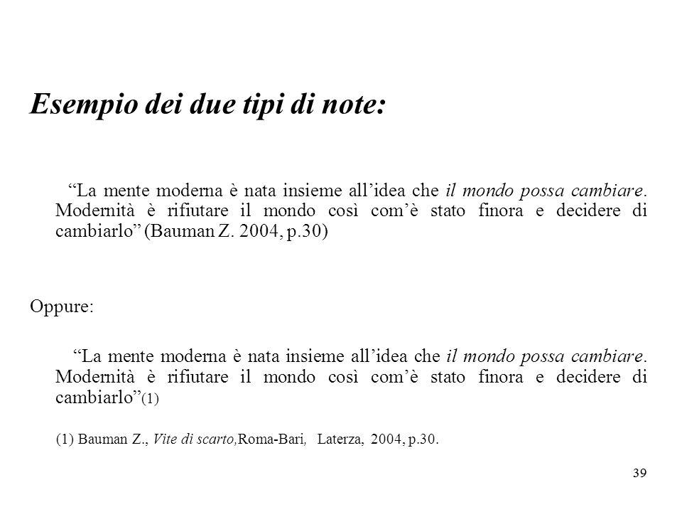 39 Esempio dei due tipi di note: La mente moderna è nata insieme allidea che il mondo possa cambiare.