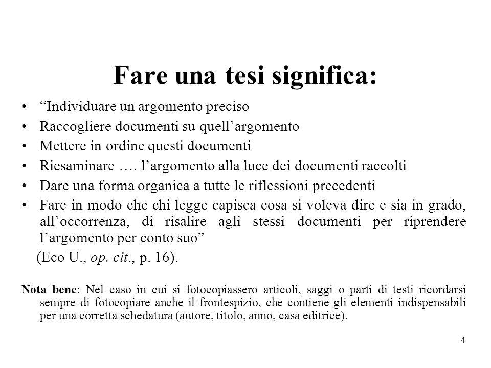 44 Fare una tesi significa: Individuare un argomento preciso Raccogliere documenti su quellargomento Mettere in ordine questi documenti Riesaminare ….