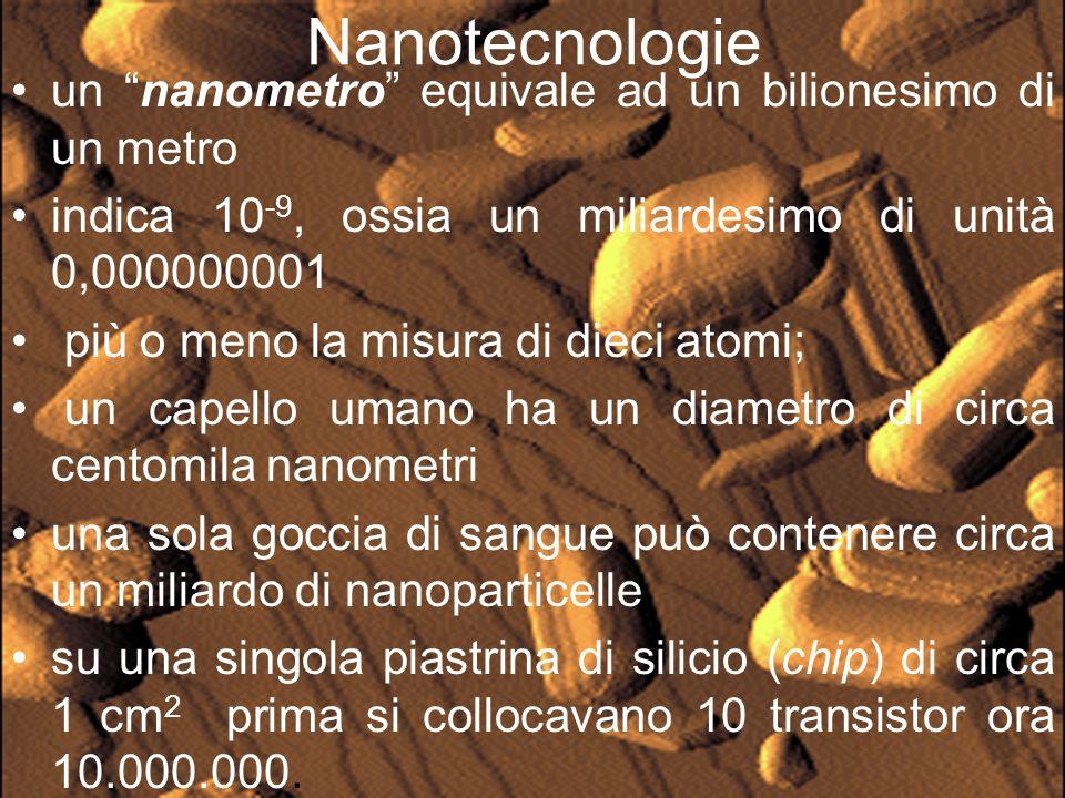 Per Nanotecnologie si intende un complesso di tecniche e discipline scientifiche quali fisica atomica, meccanica quantistica, chimica, scienza dei materiali, ottica ed elettronica per citarne alcune, che consentono di studiare, progettare, fabbricare e caratterizzare oggetti con dimensioni inferiori al micrometro (milionesimo di metro).