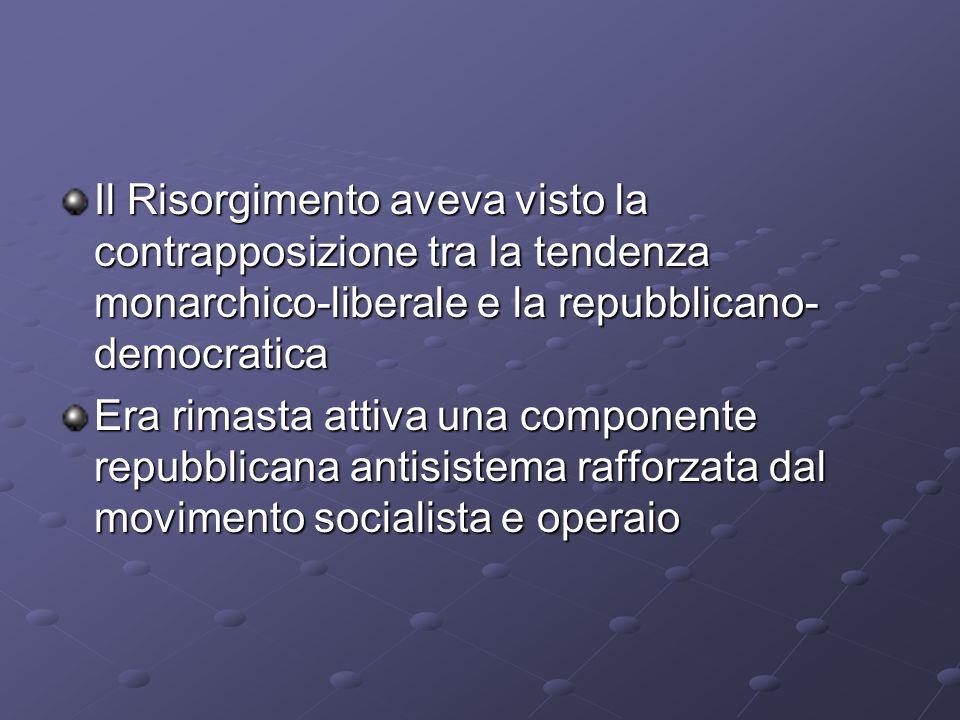 Il Risorgimento aveva visto la contrapposizione tra la tendenza monarchico-liberale e la repubblicano- democratica Era rimasta attiva una componente r