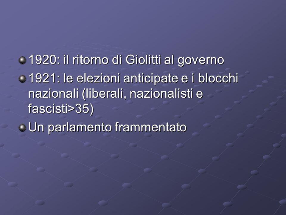 1920: il ritorno di Giolitti al governo 1921: le elezioni anticipate e i blocchi nazionali (liberali, nazionalisti e fascisti>35) Un parlamento framme