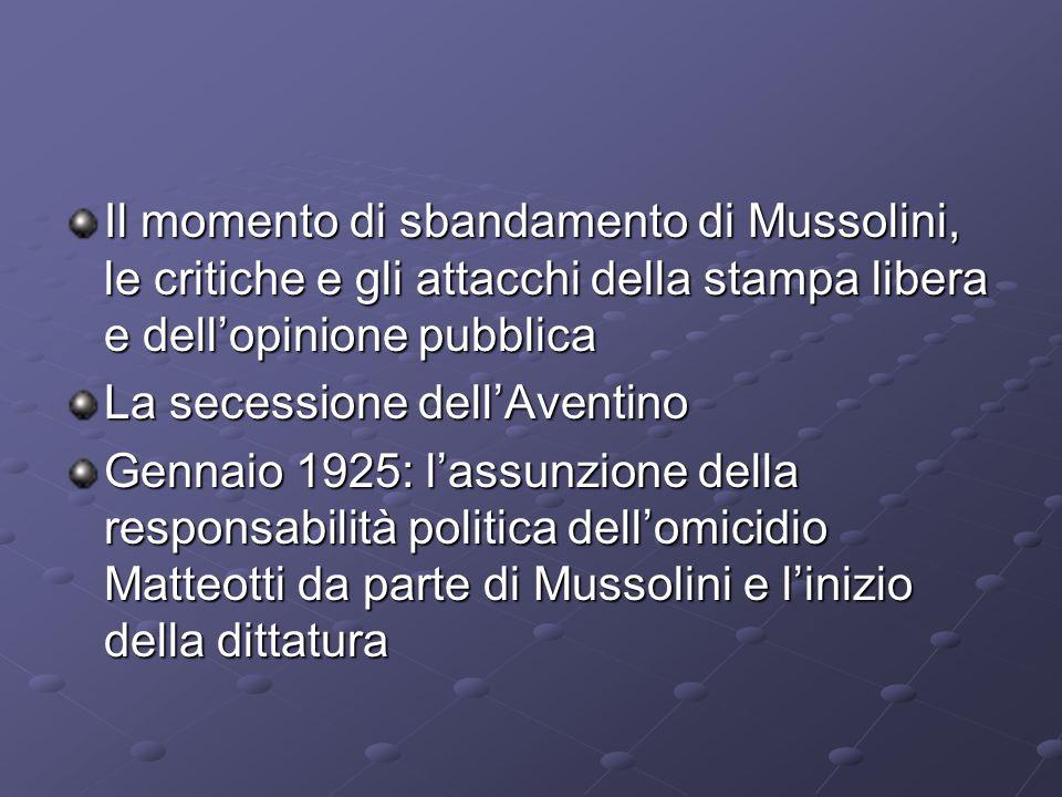 Il momento di sbandamento di Mussolini, le critiche e gli attacchi della stampa libera e dellopinione pubblica La secessione dellAventino Gennaio 1925