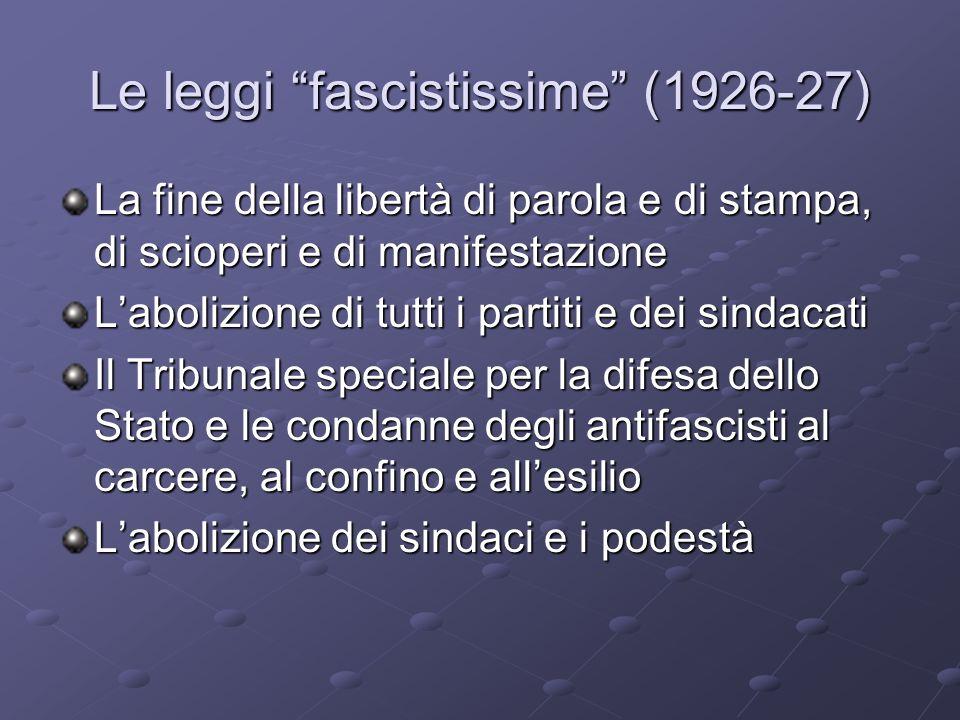 Le leggi fascistissime (1926-27) La fine della libertà di parola e di stampa, di scioperi e di manifestazione Labolizione di tutti i partiti e dei sin