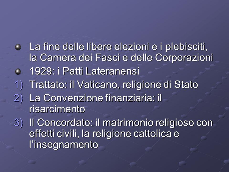 La fine delle libere elezioni e i plebisciti, la Camera dei Fasci e delle Corporazioni 1929: i Patti Lateranensi 1)Trattato: il Vaticano, religione di