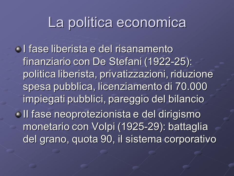 La politica economica I fase liberista e del risanamento finanziario con De Stefani (1922-25): politica liberista, privatizzazioni, riduzione spesa pu