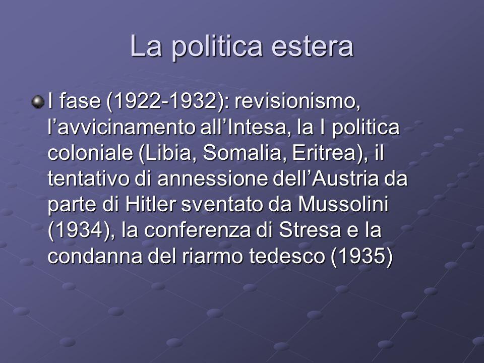 La politica estera I fase (1922-1932): revisionismo, lavvicinamento allIntesa, la I politica coloniale (Libia, Somalia, Eritrea), il tentativo di anne