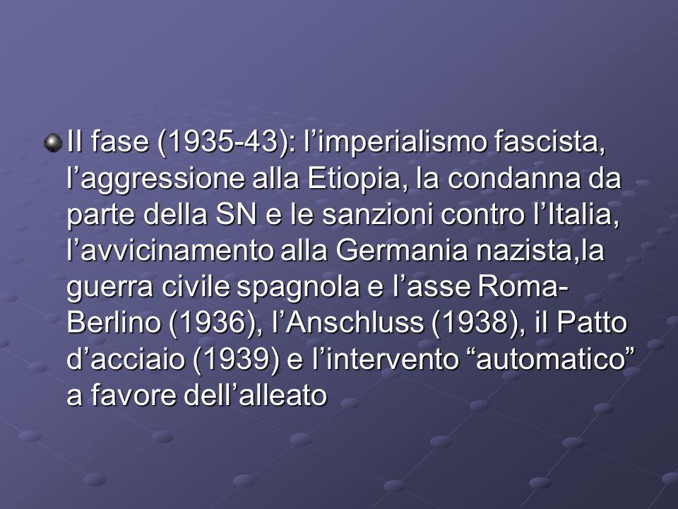 II fase (1935-43): limperialismo fascista, laggressione alla Etiopia, la condanna da parte della SN e le sanzioni contro lItalia, lavvicinamento alla