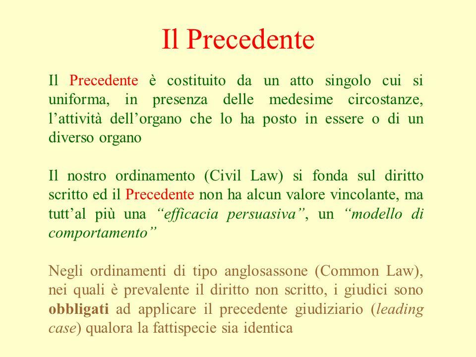 Il Precedente Il Precedente è costituito da un atto singolo cui si uniforma, in presenza delle medesime circostanze, lattività dellorgano che lo ha posto in essere o di un diverso organo Il nostro ordinamento (Civil Law) si fonda sul diritto scritto ed il Precedente non ha alcun valore vincolante, ma tuttal più una efficacia persuasiva, un modello di comportamento Negli ordinamenti di tipo anglosassone (Common Law), nei quali è prevalente il diritto non scritto, i giudici sono obbligati ad applicare il precedente giudiziario (leading case) qualora la fattispecie sia identica