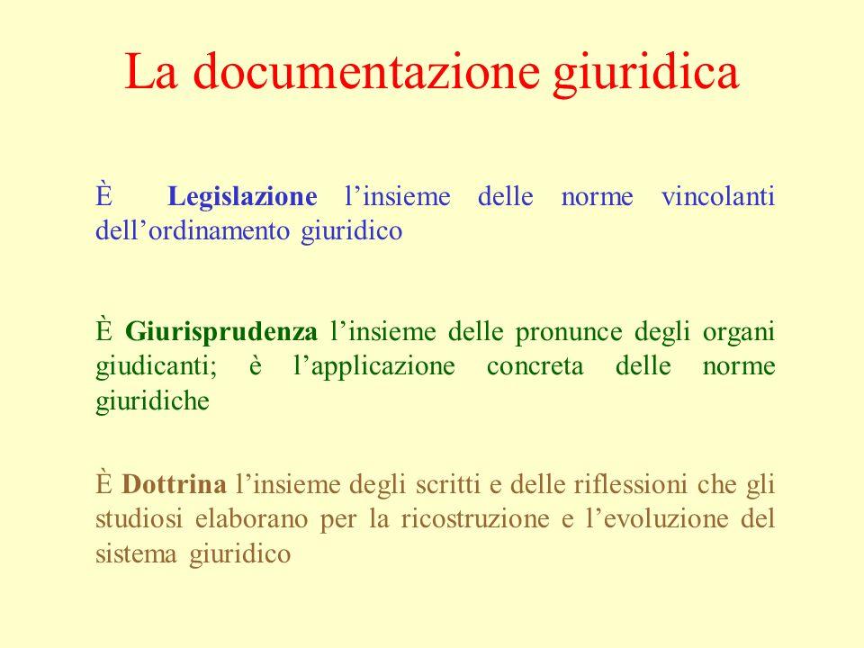 La documentazione giuridica È Legislazione linsieme delle norme vincolanti dellordinamento giuridico È Giurisprudenza linsieme delle pronunce degli or