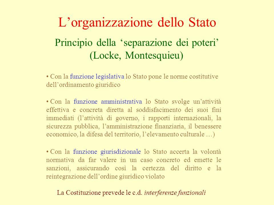 Lorganizzazione dello Stato Principio della separazione dei poteri (Locke, Montesquieu) Con la funzione amministrativa lo Stato svolge unattività effe