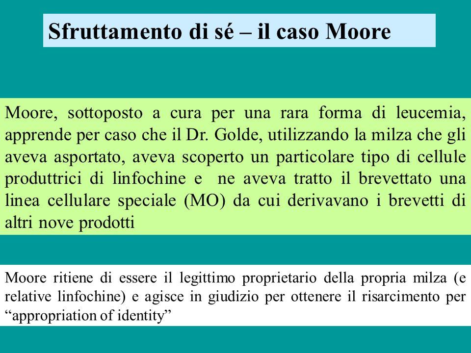 Sfruttamento di sé – il caso Moore Moore, sottoposto a cura per una rara forma di leucemia, apprende per caso che il Dr. Golde, utilizzando la milza c