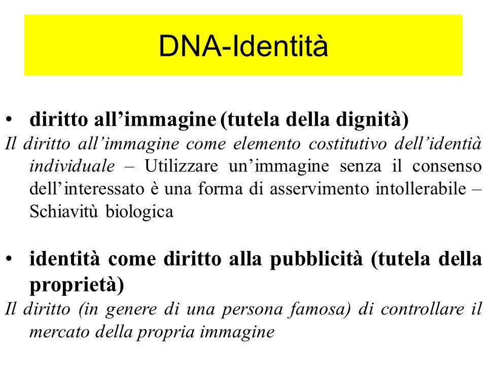 DNA-Identità diritto allimmagine (tutela della dignità) Il diritto allimmagine come elemento costitutivo dellidentià individuale – Utilizzare unimmagi