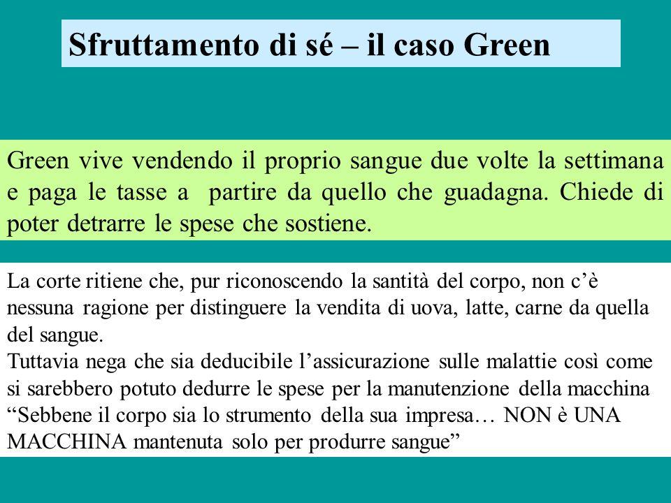 Sfruttamento di sé – il caso Green Green vive vendendo il proprio sangue due volte la settimana e paga le tasse a partire da quello che guadagna. Chie