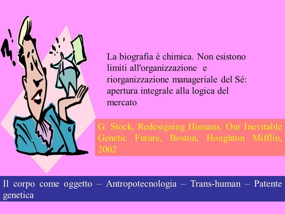 Il corpo come oggetto – Antropotecnologia – Trans-human – Patente genetica La biografia è chimica. Non esistono limiti all'organizzazione e riorganizz